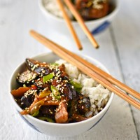Szechuan-style mushrooms with aubergine