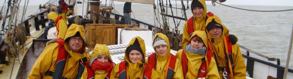 Group shot on Queen Galadriel in oilskins