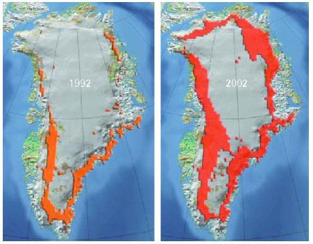 Cires Greenland Melting 1992 v 2002