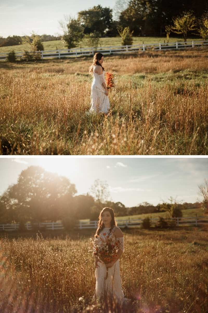 boho bride walking in a field by cirque91 photography
