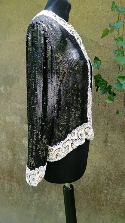 Frank Usher Silk Sequin Jacket, 1.02 black, white, gold fully embroidered,side