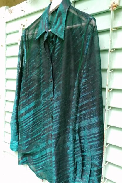 Glitter Metallic mash striped blouse, 3.01 green and black, front-side detail