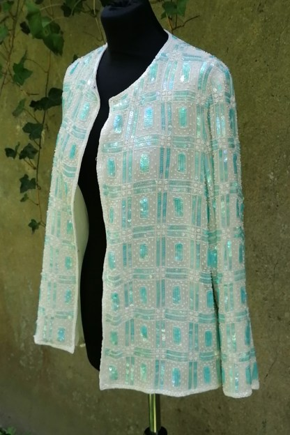 Silk white and aqua sequin and beaded cardigan, U.SEQ2.02, front