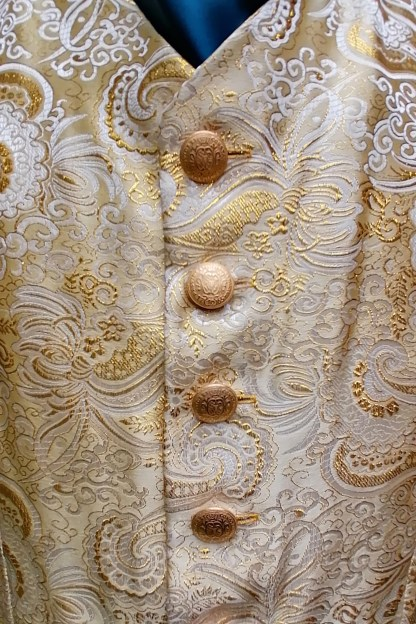 Tailored Jacquard golden Vest, front-detailed