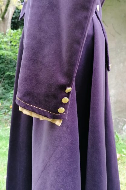 Tailored Velvet Jacket Purple, cuff detail