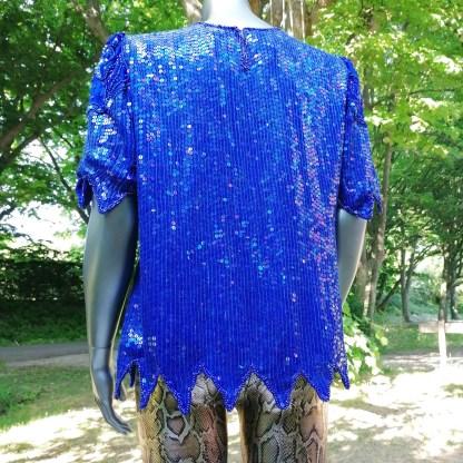 flapper top blue silk and sequins