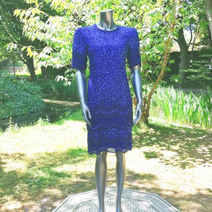 Gatsby dress sequins and beads blue