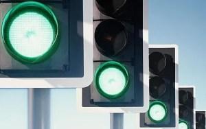 row of traffic lights, green lights illuminated (digital composite) - source: Telegraph