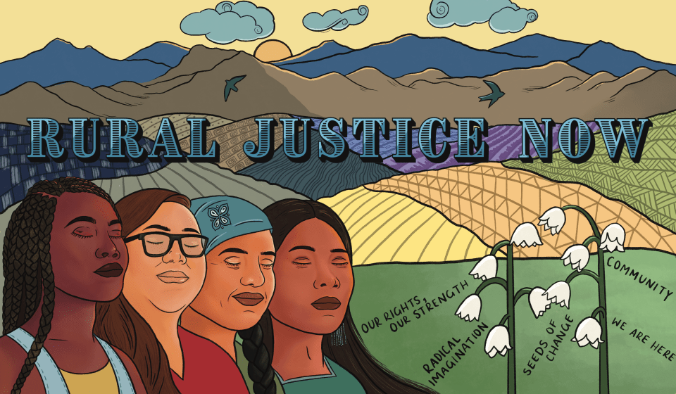 Photo of four women of color from the movement for Rural Justice Now.