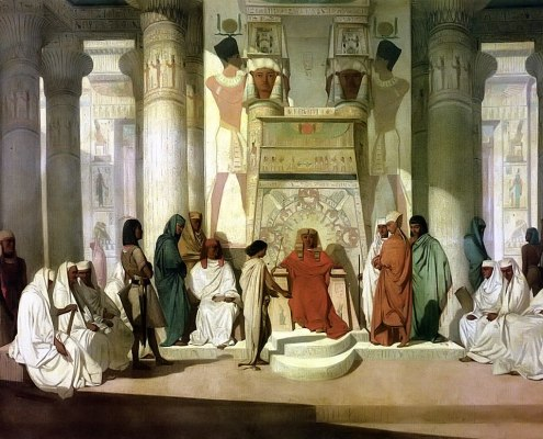 Miketz. Joseph Interprets the Dream of Pharaoh, 19th-century painting by Jean-Adrien Guignet. Public Domain