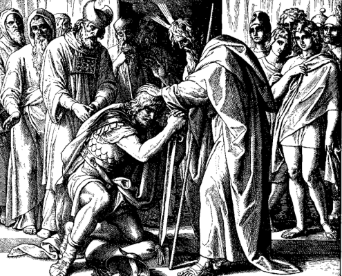 Moses Names Joshua To Succeed Him (woodcut by Julius Schnorr von Carolsfeld from the 1860 Bible in Pictures)