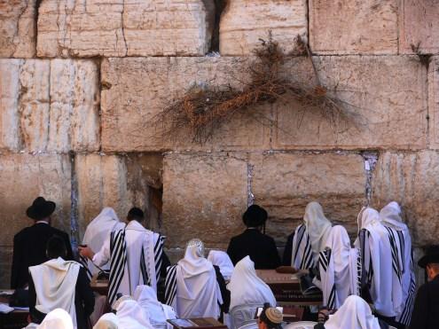 Photo: MathKnight and Zachi Evenor. Religious Jews pray in the Western Wall (Wailing Wall, HaKotel HaMaaravi), Jerusalem