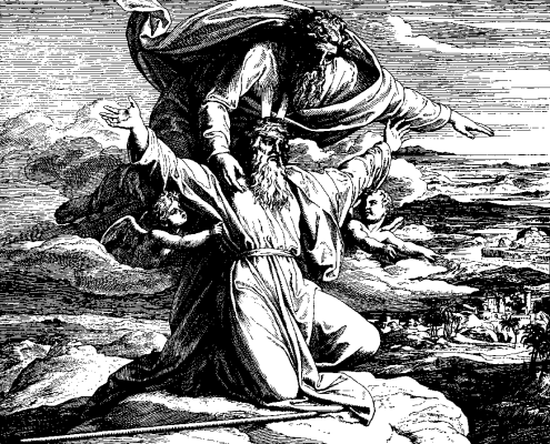 Moses Views the Land of Israel (woodcut by Julius Schnorr von Carolsfeld from the 1860 Bible in Pictures)