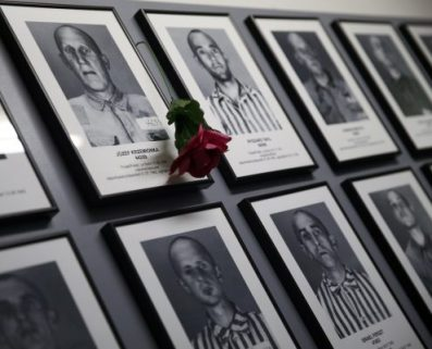 Portraits of victims are seen on the wall in of the barracks of the former Nazi German concentration and extermination camp Auschwitz-Birkenau in Oswiecim, Poland January 27, 2016, during ceremonies to mark the 71th anniversary of the liberation of the camp by Soviet troops and to remember the victims of the Holocaust.  REUTERS/Kacper Pempel