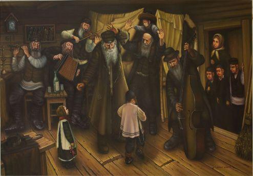 Shtetl Mezhirich. Klezmers, Birthday Grandfather. 120х80cm. oil