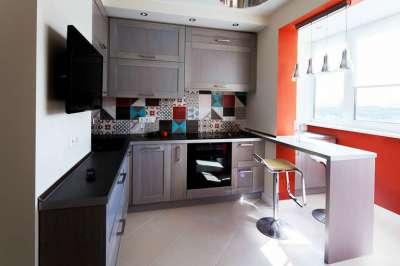 дизайн кухни 10 метров с балконом 5
