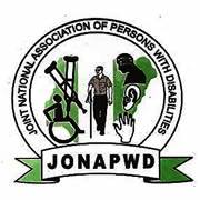 The words: Joint National Association of Persons With Disability Enclosed in a circle and some disability apparatus enclosed in another circle with in that same circle and the abriviation, JONAPWD, written below