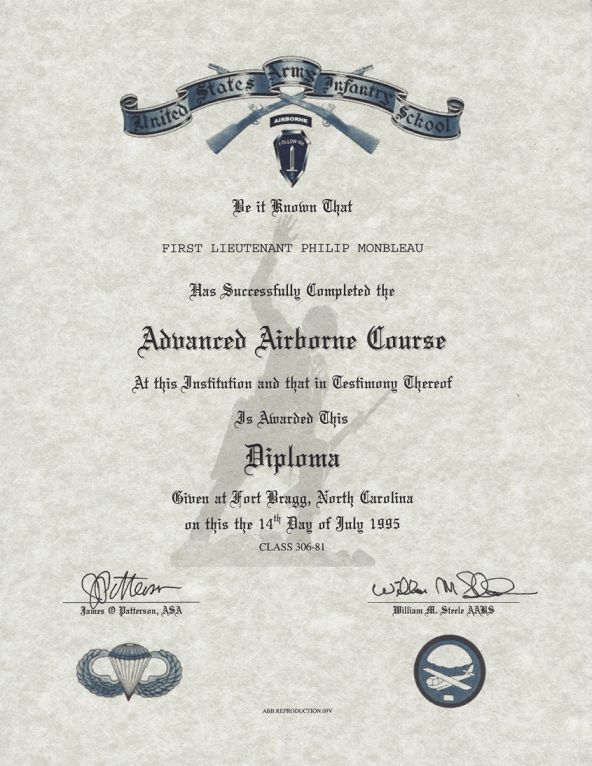 Advanced Airborne Jump School Certificate