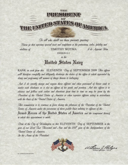 Naval Officer Appointment Certificate