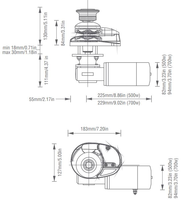 Project 500 Vertical Windlass, Low Profile, Chrome, 1/4