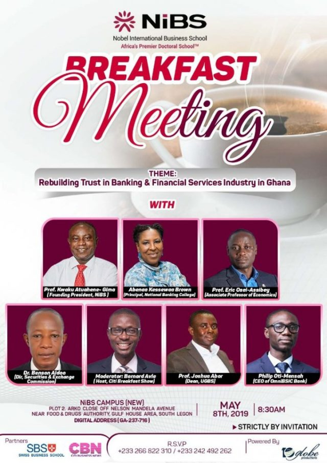 NiBS to hold forum on rebuilding trust in banking sector on May 8 2