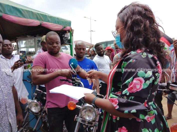 Awutu Senya East: NDC's Naa Koryoo presents motorbikes to victims of shooting incident 3