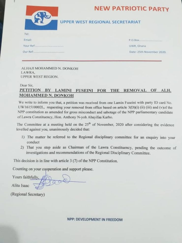 NPP Chairman asked to temporarily vacate his position. 4