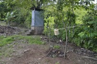 A latrine, and tippy tap for hand washing
