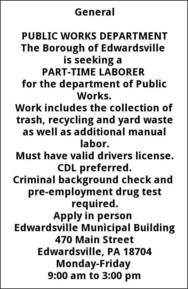 Laborer, Edwardsville Borough, PA
