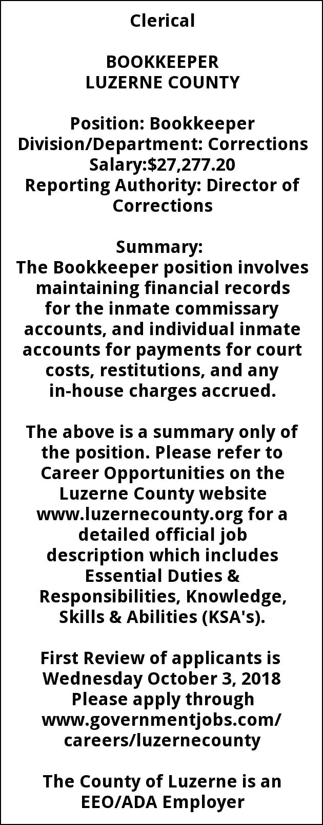 Bookkeeper Job Description | mwb-online co