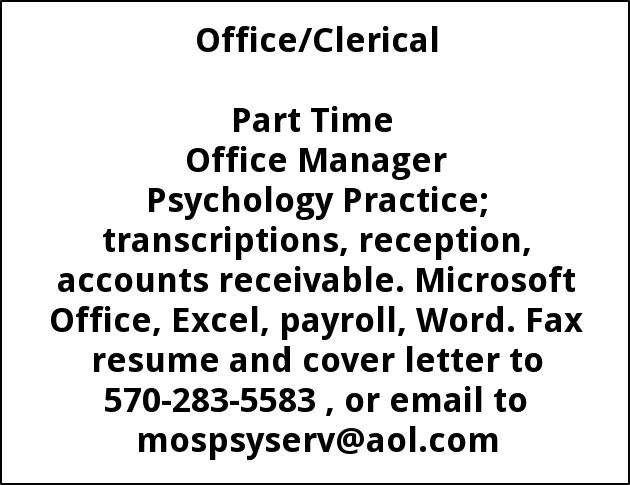 Part Time Office Manager, Mosack, Marguerite-m.a.