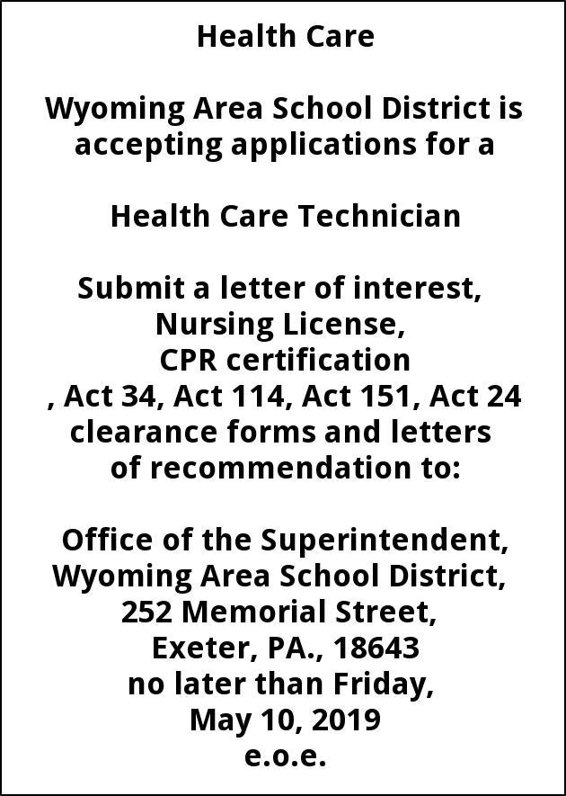 Health Care Technician, Wyoming Area School, PA