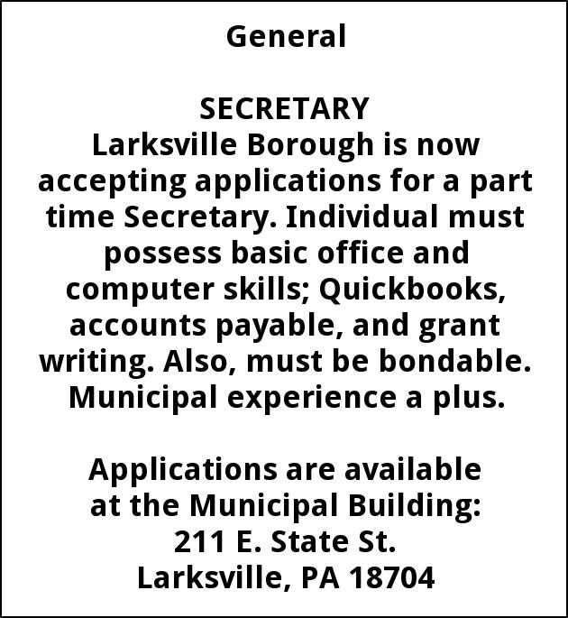 Secretary, Larksville Borough