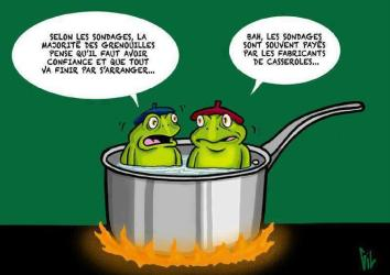 Two frogs speaking in a pan full of boiling water