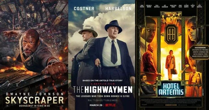 ©Universal Pictures ©Netflix ©Concorde Filmverleih skyscraper the highwaymen hotel artemis film trailer time