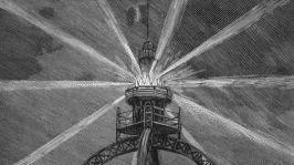 """Phare électrique de la Tour Eiffel c. 1889 par l'ingénieur français Sebillot et Jules Bourdais, gravure extraite du livre """"Album de la science savant illustres grandes découvertes"""" 1899"""