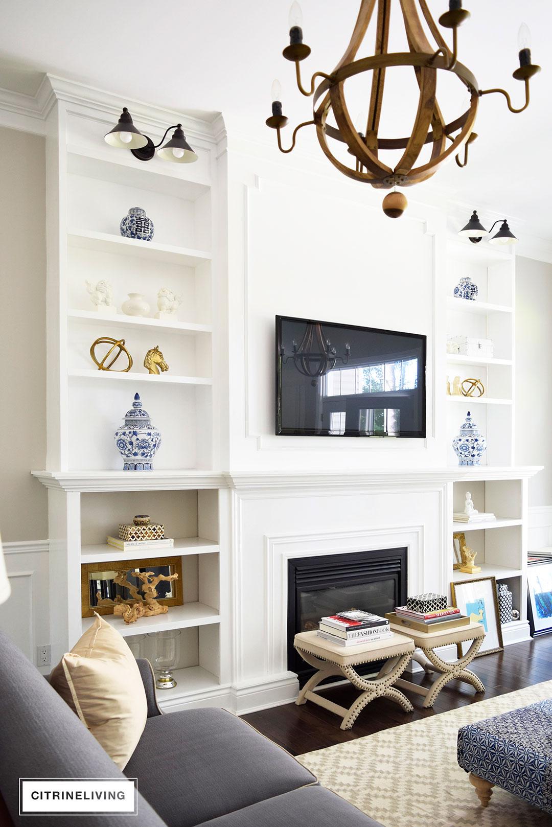 diy shelves in living room traditional rooms images citrineliving bookshelves ceiling height built bookshelves6
