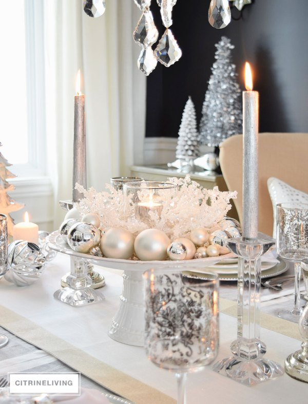 Winter White And Silver Holiday Tablescape