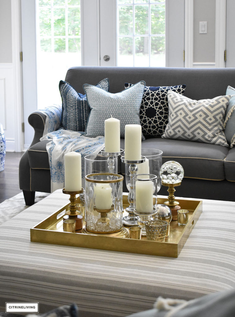 style a coffee table or ottoman 3 ways
