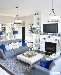 Silver Blue Living Room With White