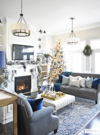Gold White And Blue Living Room Decor