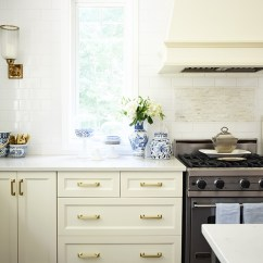 Brass Kitchen Hardware Design Stores Near Me Our Updates Pulls And Faucet Ivory Cabinets Drawers Blue White Vase With Hydrangeas