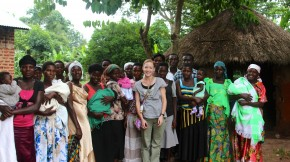 Brandie Nonnecke with mothers at one of the Nutrition Education Centers