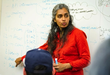 Shankari discusses transportation data analysis with her students at UC Berkeley.