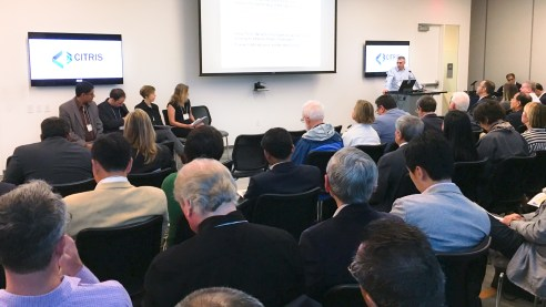 Moderator and Sustainable Infrastructures Initiative Director, David Culler, leads a panel discussion to a full audience during CITRIS Day.