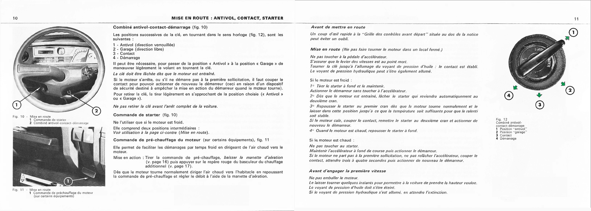 1971 Citroën GS Notice d'emploi (owner's manual) #1