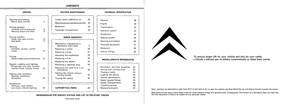 1980 Citroën GSA owner's manual Page 1