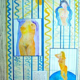 ARMILLA - tecnica mista (acquarello su carta intagliata) - cm. 70 x 86