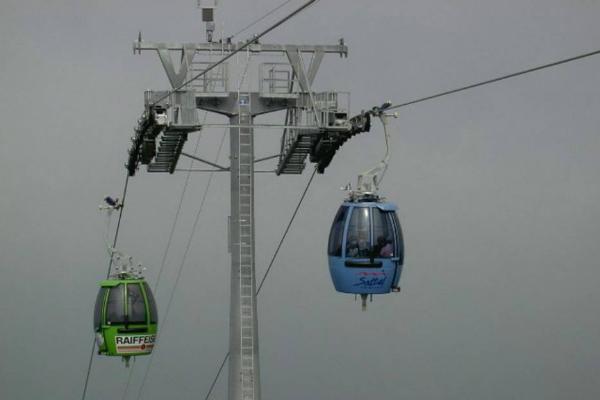Dinner in ski gondola in Sattel Switzerland