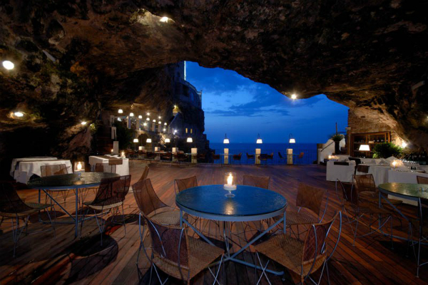 Restaurant in a cave Grotta Palazzese Italy